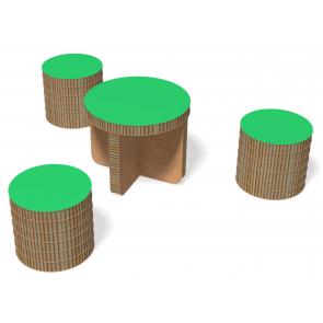 Ensemble Table basse et 3 poufs eRond